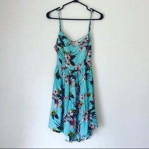 MID LENGTH OPEN BACK BABY BLUE FLORAL DRESS